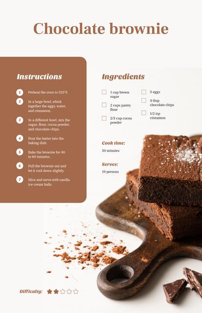 Plantilla de diseño de Pieces of Chocolate Brownie Recipe Card