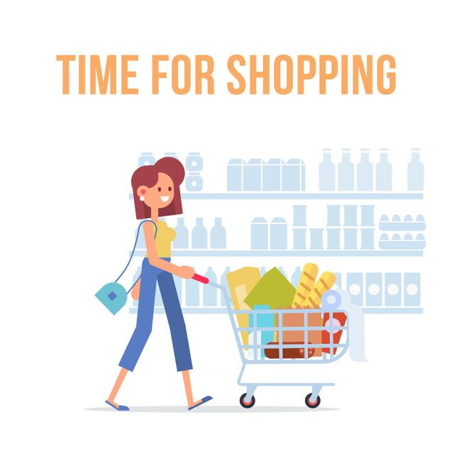 Modèle de visuel Woman pushing shopping cart - Animated Post