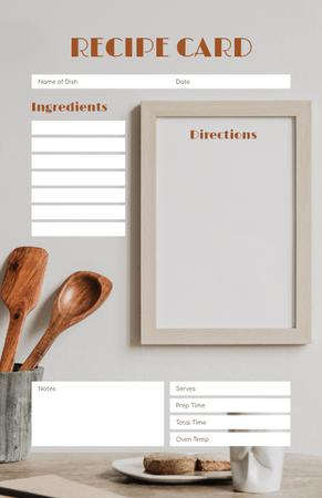 Designvorlage Wooden Cutlery and Baked Bread für Recipe Card