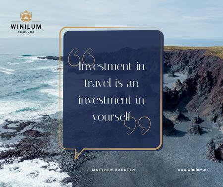Plantilla de diseño de Travel Quote on Rocky Coast View Facebook