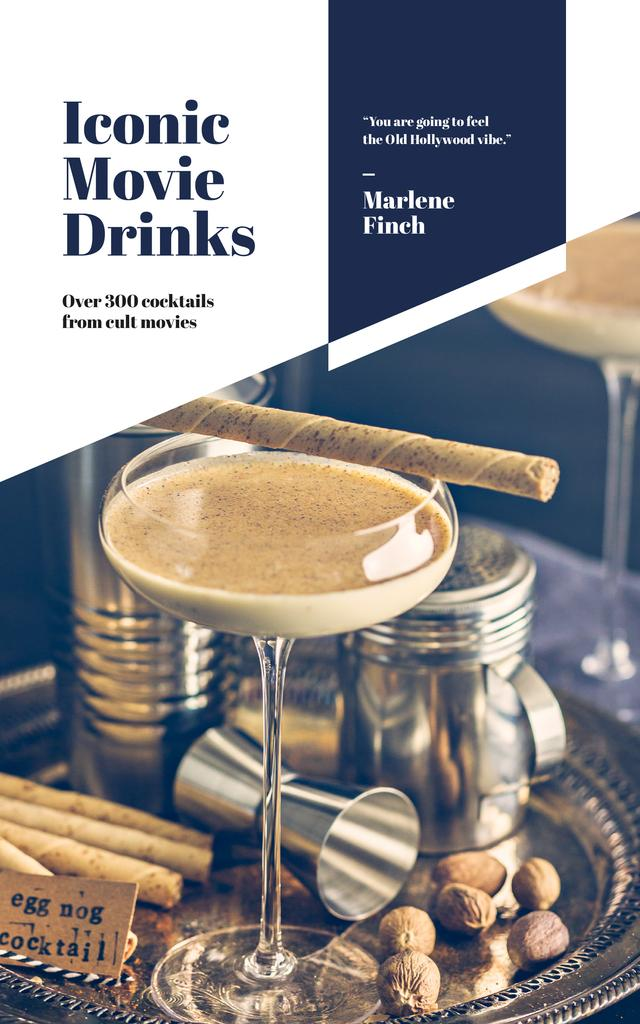 Drinks Recipes Glass with Eggnog Cocktail Book Cover – шаблон для дизайна