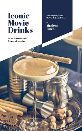 Szablon projektu Drinks Recipes Glass with Eggnog Cocktail Book Cover
