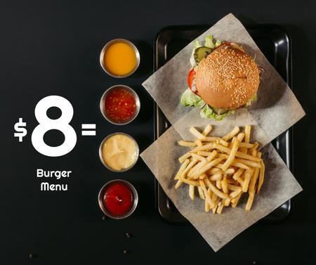 Modèle de visuel Fast Food Menu offer Burger and French Fries - Facebook