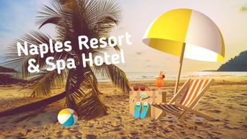 Resort Invitation Sandy Beach with Sea View