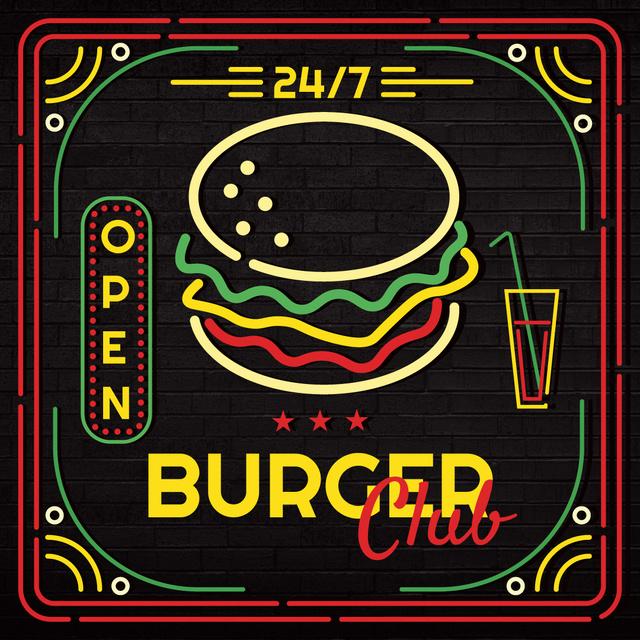 Burger club glowing icon Instagram AD Tasarım Şablonu