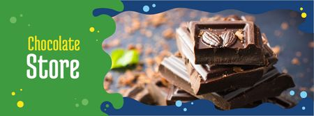 Ontwerpsjabloon van Facebook cover van Chocolate Pieces with Mint