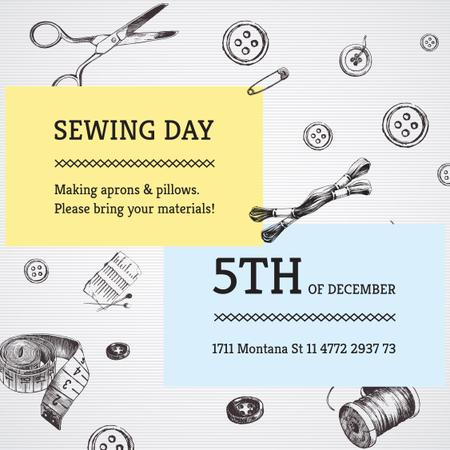 Designvorlage Sewing day event with needlework tools für Instagram AD