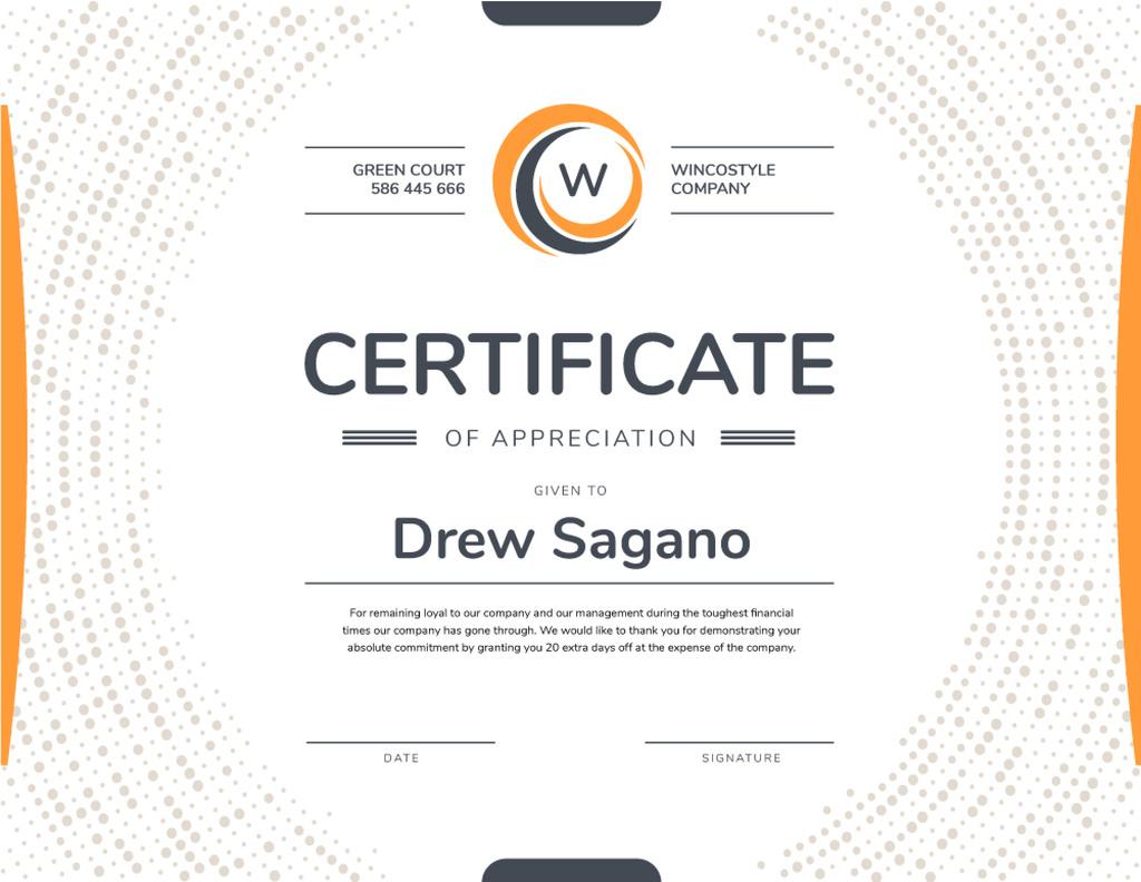 Modèle de visuel Company Employee Appreciation in orange - Certificate