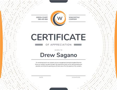Plantilla de diseño de Company Employee Appreciation in orange Certificate