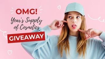Cosmetics Giveaway Offer with Young Girl in cap