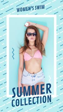 Summer Offer Young Girl in Bikini | Vertical Video Template