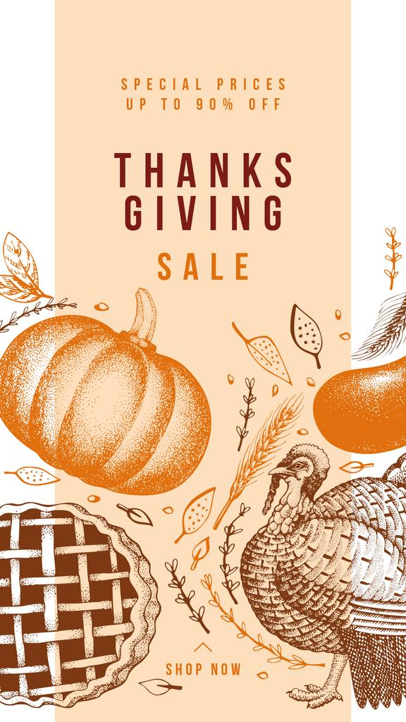 Thanksgiving feast concept with Pumpkin illustration — Crear un diseño