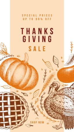 Template di design Thanksgiving feast concept with Pumpkin illustration Instagram Story