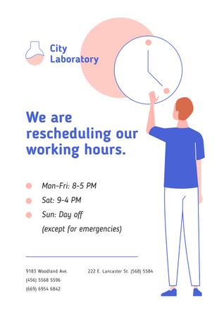 Template di design Test Laboratory Working Hours Rescheduling during quarantine Poster