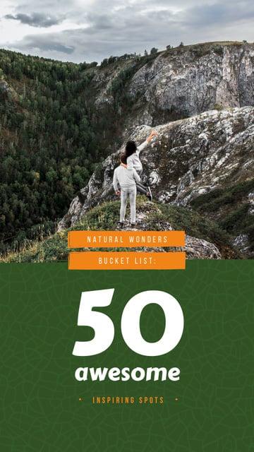 Couple admiring mountains view Instagram Story – шаблон для дизайна