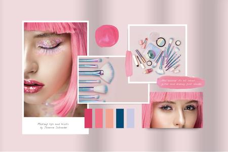 Creative Makeup in Pink with glitter Mood Board Modelo de Design