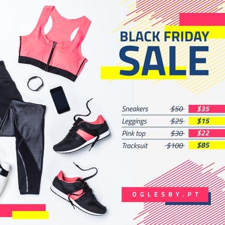 Plantilla de diseño de Black Friday Sale Sports Equipment in Pink Instagram