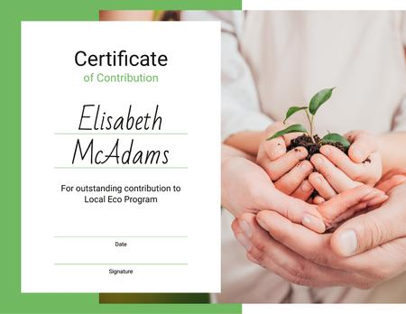 Template di design Eco Program Contribution gratitude with plant in hands Certificate