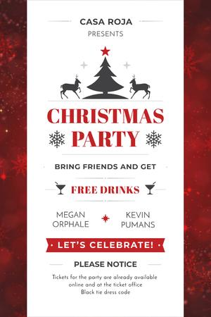 Plantilla de diseño de Christmas Party Invitation with Deer and Tree Pinterest