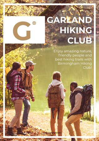Template di design Hiking club Ad with people by the river Poster