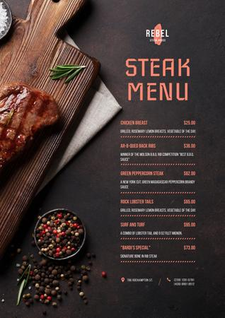 Steak House dishes list Menu Tasarım Şablonu