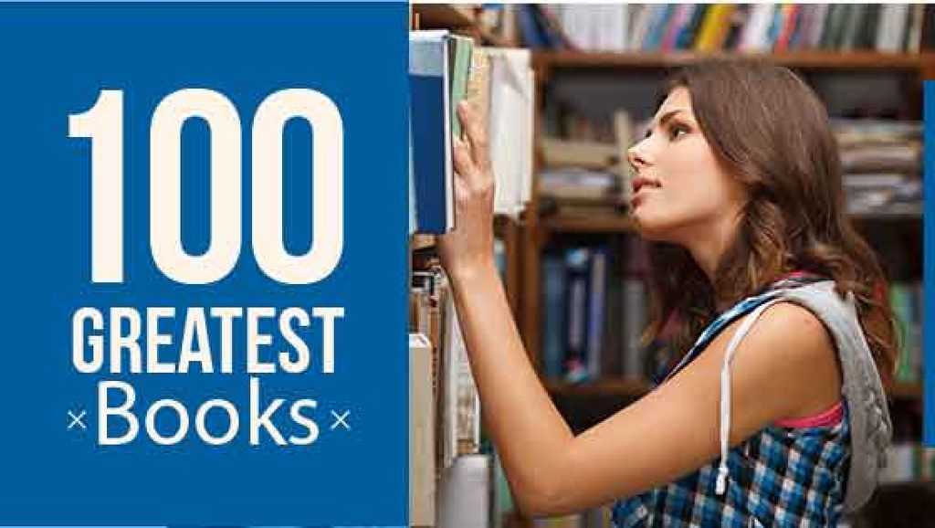 100 greatest books poster with girl in library — Maak een ontwerp