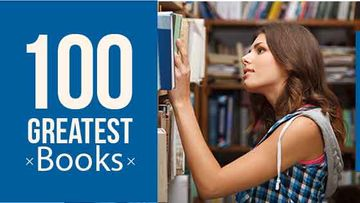 100 greatest books poster with girl in library