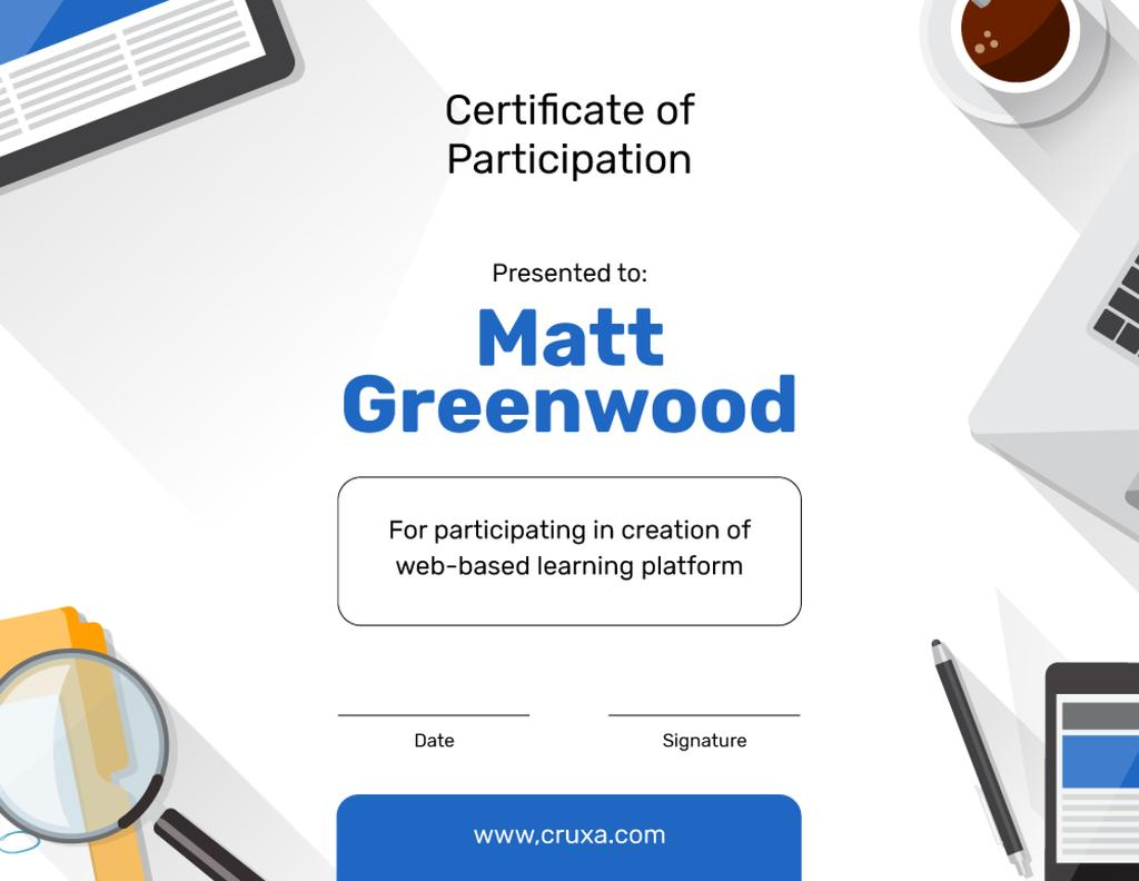 Online Learning Platform Participation gratitude — Create a Design