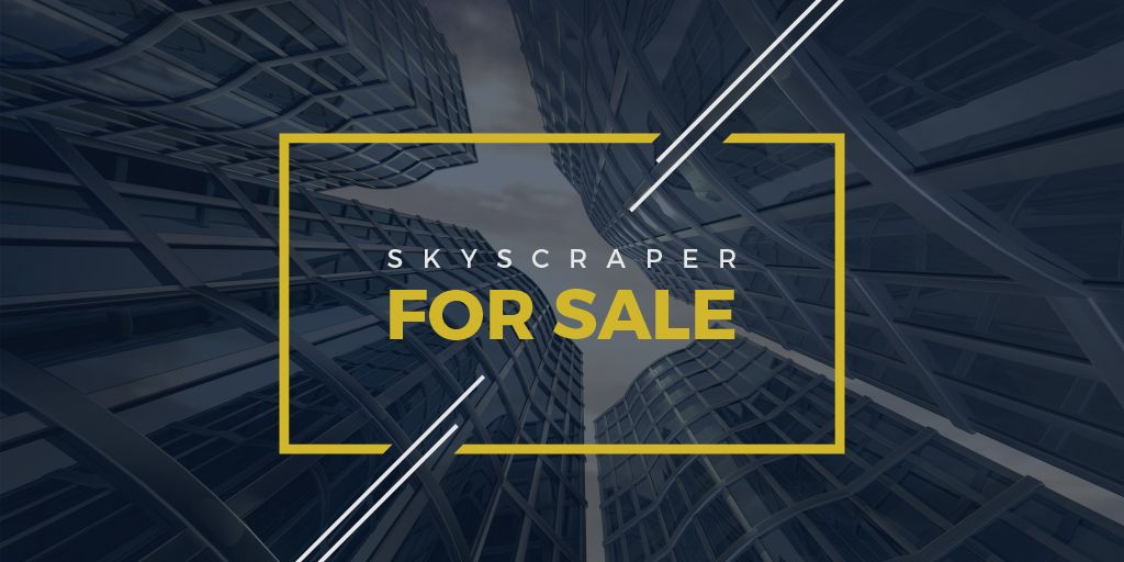 Real Estate Advertisement Modern Skyscrapers | Twitter Post Template — Create a Design