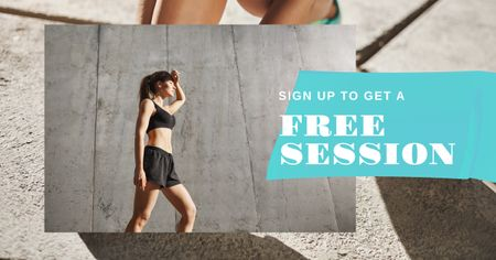 Plantilla de diseño de Fitness session offer with Woman at Workout Facebook AD