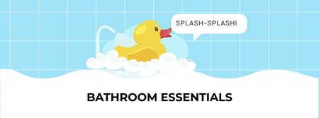 Ontwerpsjabloon van Facebook cover van Bathroom Essentials Offer with Toy Duck
