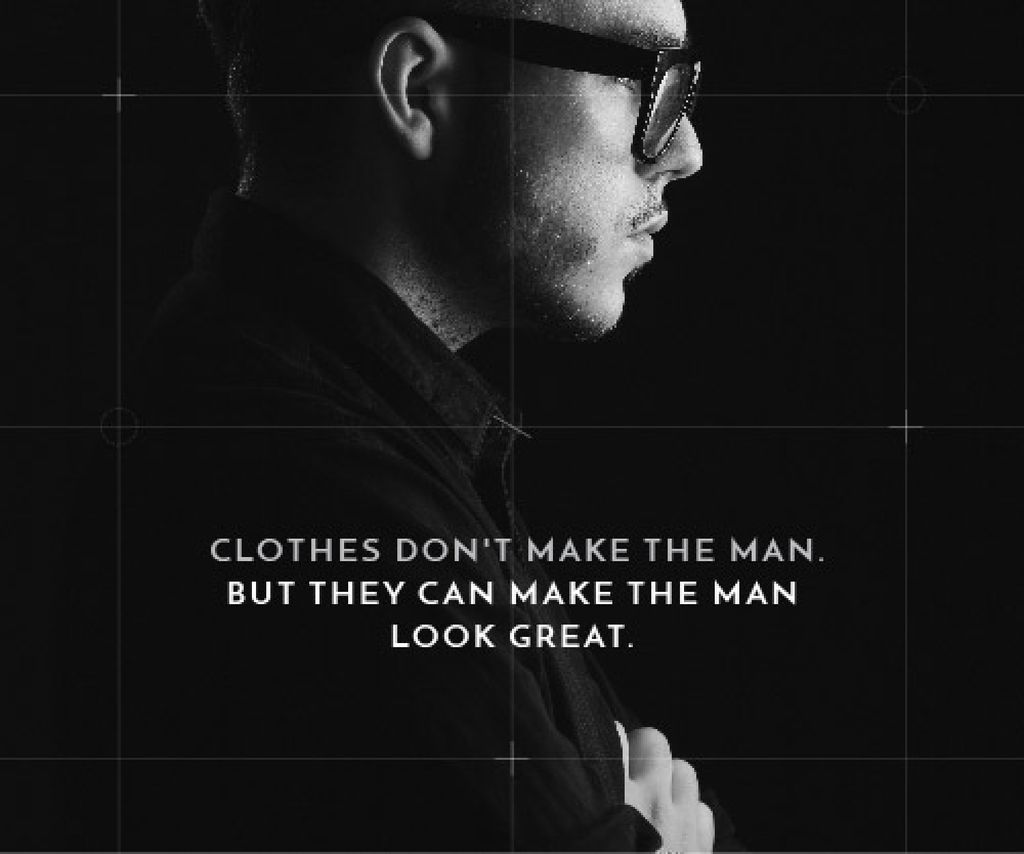 Fashion Quote Businessman Wearing Suit in Black and White | Medium Rectangle Template — Create a Design