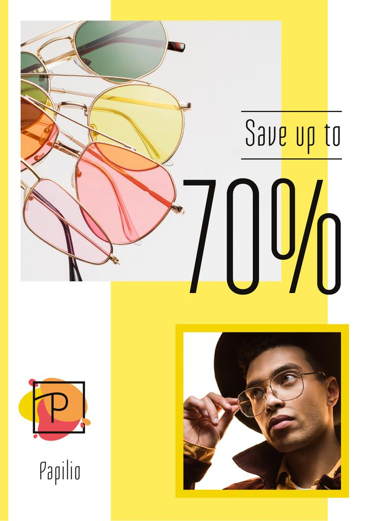 Sunglasses Sale Stylish Men in Yellow —デザインを作成する