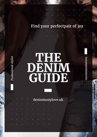 Denim guide with Attractive Women Poster – шаблон для дизайна