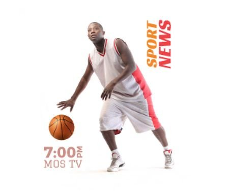 Modèle de visuel Sport News Announcement Basketball Player - Medium Rectangle