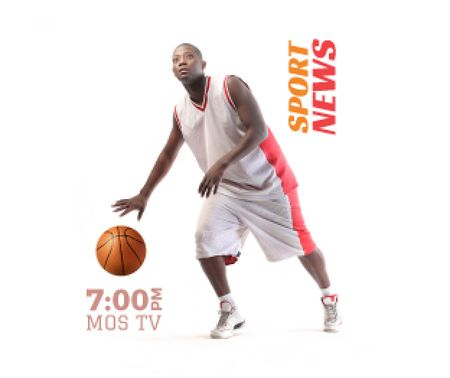 Plantilla de diseño de Sport News Announcement Basketball Player Medium Rectangle