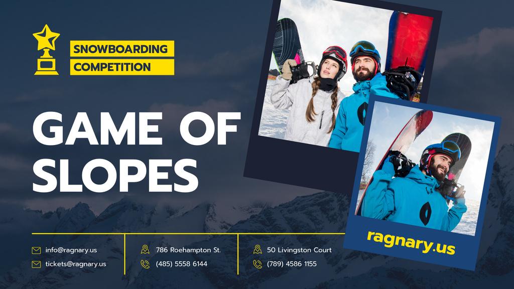 Snowboarding Competition Announcement People with Boards — Créer un visuel
