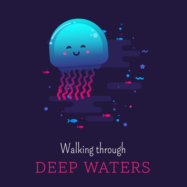 Jellyfish swimming in sea Animated Postデザインテンプレート