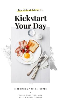 Tasty breakfast meal on white table Instagram Story Design Template