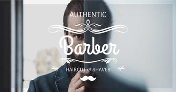 Advertisement for barbershop with Barber