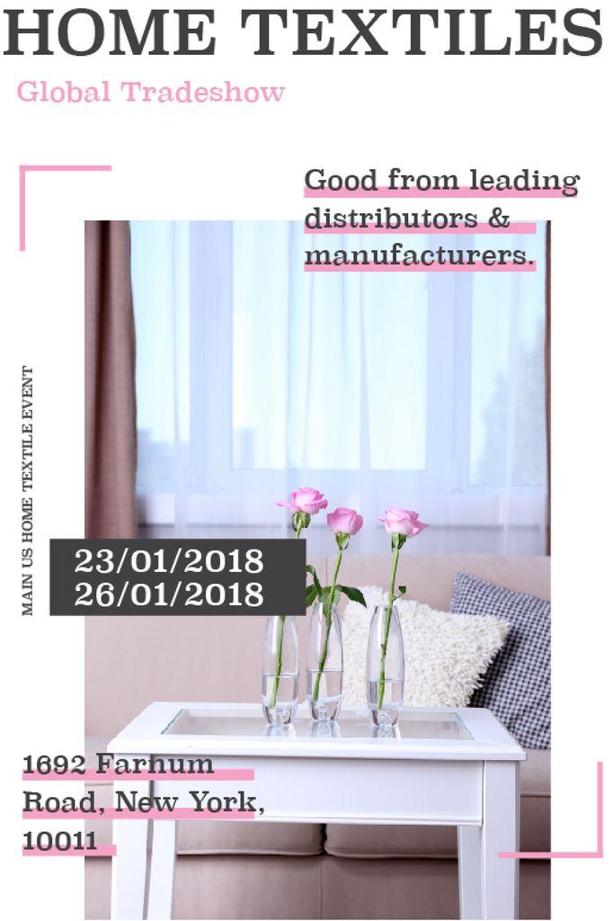 Home textiles event announcement roses in Interior — ein Design erstellen