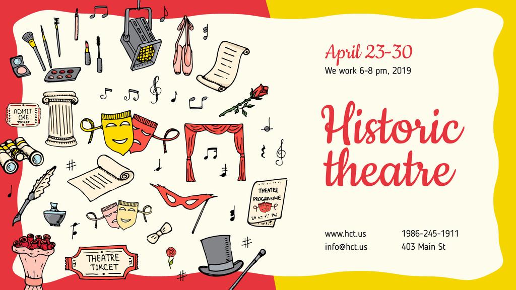 Theater Invitation Art Icons | Facebook Event Cover Template — ein Design erstellen
