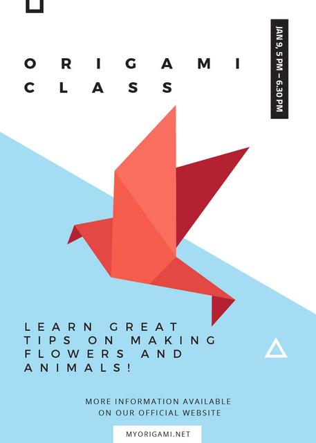 Origami Classes Invitation Paper Bird in Red Flayer – шаблон для дизайна