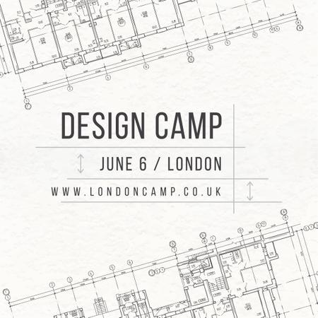 Design camp announcement on blueprint Instagram AD – шаблон для дизайну