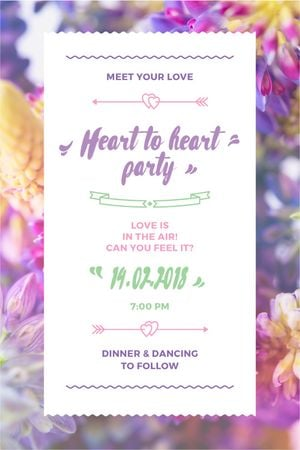 Party Invitation with Purple Flowers Tumblr – шаблон для дизайна