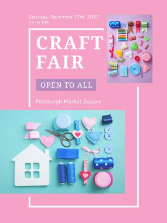 Plantilla de diseño de Craft Fair with needlework tools Poster US