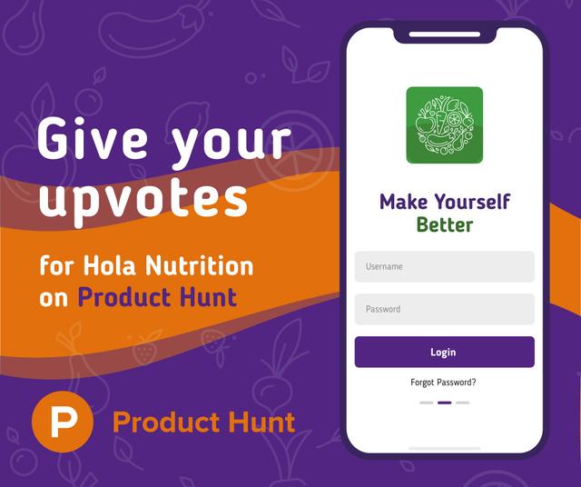 Ontwerpsjabloon van Facebook van Product Hunt Campaign Ad Login Page on Screen