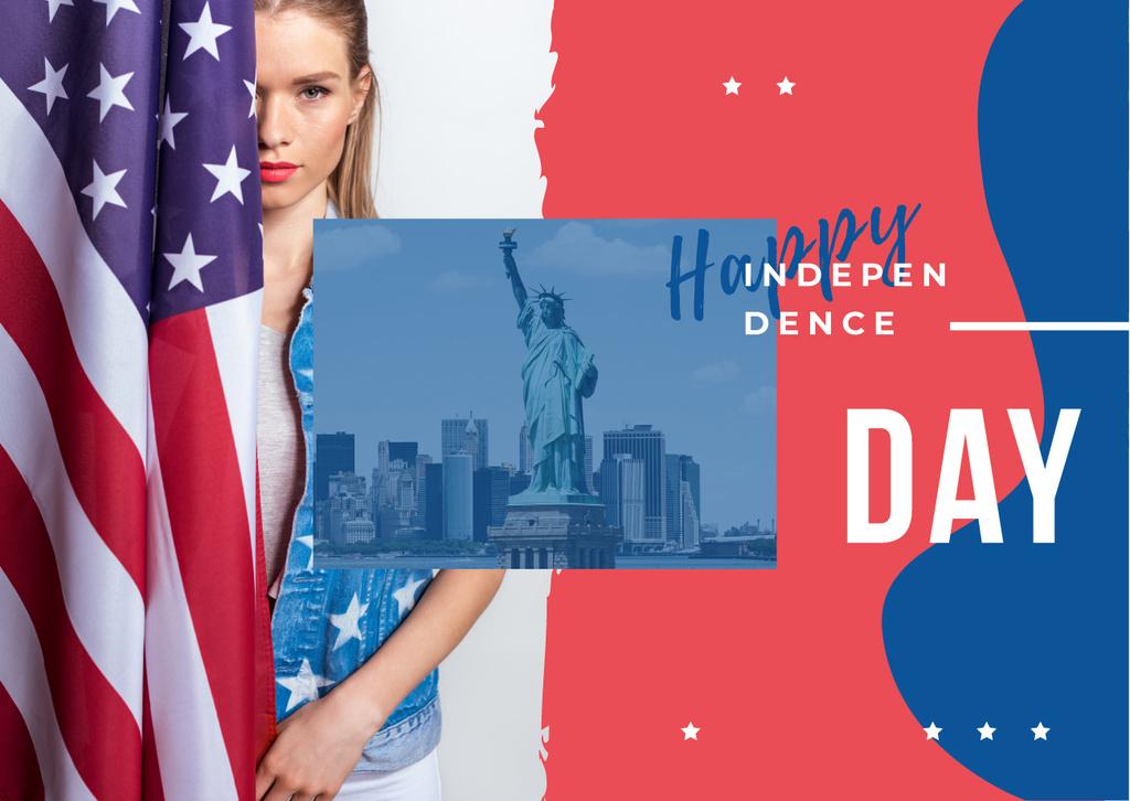 Woman with American flag — Modelo de projeto