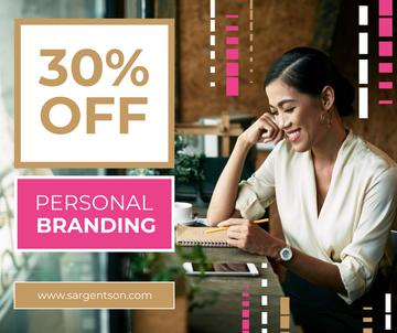 Branding Agency Offer Businesswoman Making Notes | Facebook Post Template