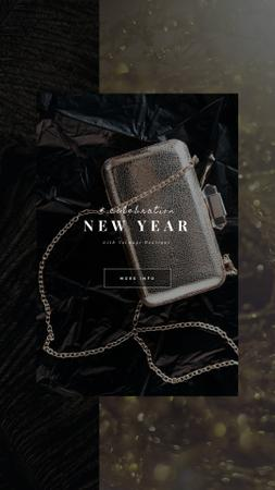 Shiny Clutch Bag for New Year Instagram Video Story Modelo de Design